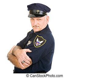 policial, sério, excitado