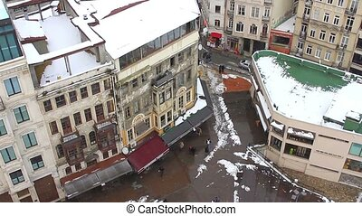 Beyoglu from Galata Tower in Winter - Aerial view of...