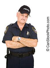 policía, oficial, malhumorado