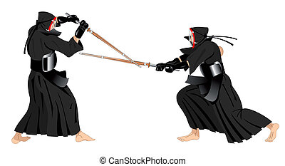 kendo warriors fighting - two kendo warriors fighting with...