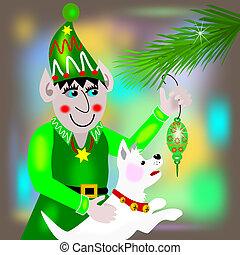 Elf hanging an ornament
