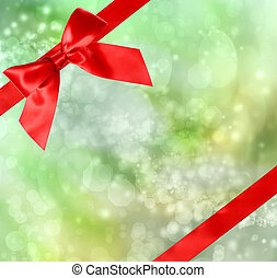 Red Bow and Ribbon with Bokeh Lights - Red Bow and Ribbon...