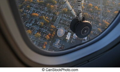 Flying into Chicago. - Morning flight with detail of plane...