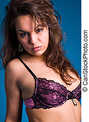 Sexy fresh brunette - Fresh brunette girl in purple lingerie...