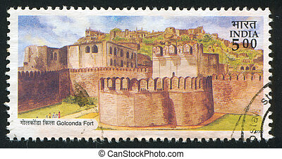 Golconda fort - INDIA - CIRCA 2002: stamp printed by India,...