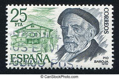Pio Baroja - SPAIN - CIRCA 1978: stamp printed by Spain,...