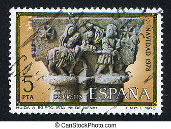 Flight into Egypt - SPAIN - CIRCA 1978: stamp printed by...