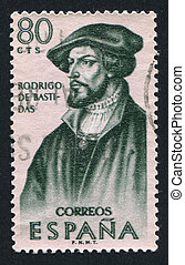 Portrait of Rodrigo de Bastidas - SPAIN - CIRCA 1967: stamp...