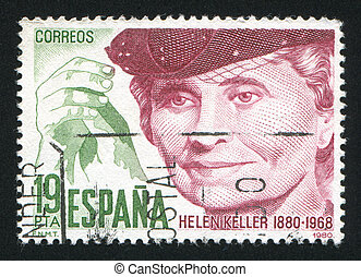 Portrait of Helen Keller - SPAIN - CIRCA 1980: stamp printed...