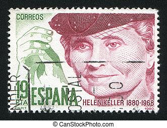Portrait of Helen Keller - SPAIN - CIRCA 1980: stamp printed...