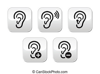 Ear hearing aid deaf problem button - Hearing problem icons...