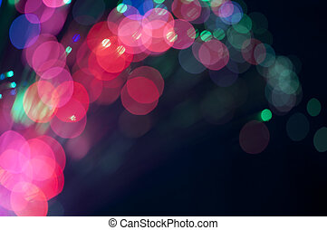 Festive lights and circles Christmas background - Blue and...