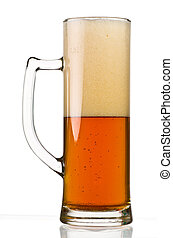 Half Full Beer Glass - A Tall Beer Glass with Medium Toned...