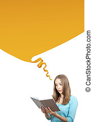 Woman with book - Young woman with book and speech bubble