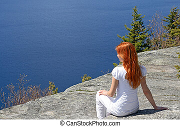 Girl looking at a view