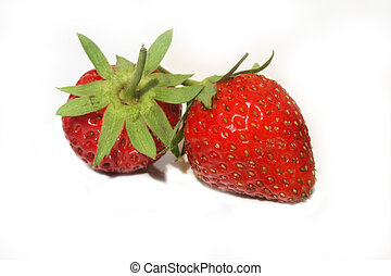 Strawberries - Two wild strawberries against white...