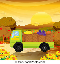 a fruittruck - illustration of a fruittruck in a beautiful...