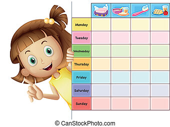 a girl and a calender - illustration of a girl and a...