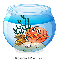 a water bowl and a shell fish - illustration of a water bowl...