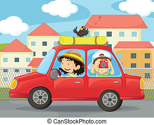 kids and a car