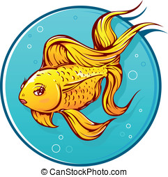 Lovely goldfish cartoon with small lips on round water...
