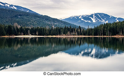 Whistler Blackcomb Reflection - The mountain on the right is...