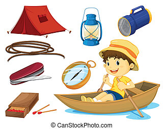 a boy and various objects of camping