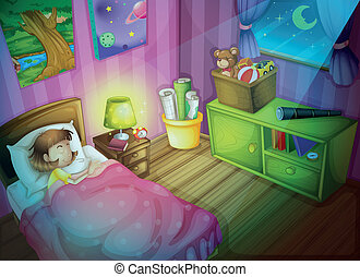 girl sleepin in bedroom at night - illustration of a girl in...