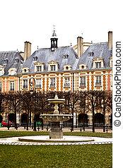 Place des Vosges - Fountain on area Vosges