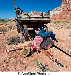 dead cowgirl lying on the floor, western spirit