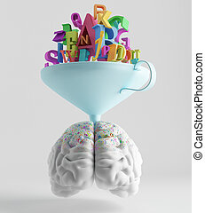 Training - knowledge is poured through a funnel into the...
