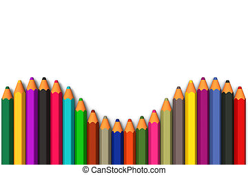 Colored pencils line up in row - 3D model of colored pencils...