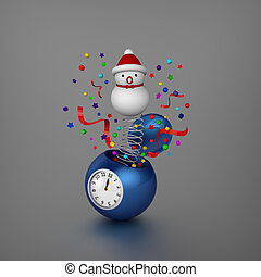 Snowman bounce out from alarm clock - 3D model of snowman...