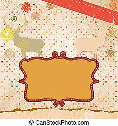 Deer vintage Christmas card. EPS 8