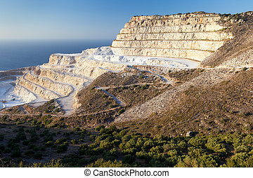 Chalk quarry on the island of Crete - The quarry near the...