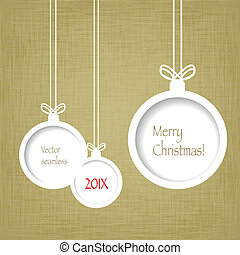 Xmas balls on textured paper - Vintage Christmas background...