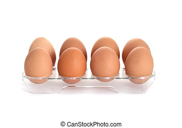 chicken eggs - raw chicken eggs, isolated on white...