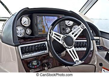Instrumento, panel, entrepuente, rueda, motor, barco, Cabina...