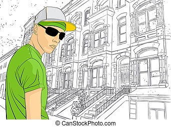 Man on town background