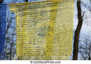 TIBETIAN PRAYER FLAGS - Tibetan prayer flags with ancient...