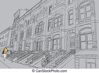 Sketch of the street on gray background