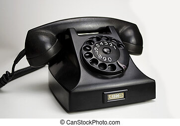 Bakelite telephone 1951 - Old black Bakelite telephone (Type...