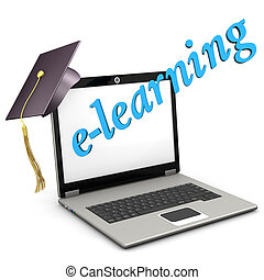 E-Learning Notebook Graduation Cap - A notebook with...