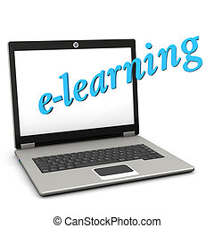 E-Learning Notebook - A notebook with blue text...