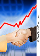 shaking hands with business stock blue background