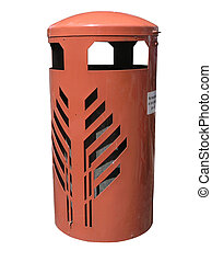 Orange Rubbish Bin isolated with clipping path