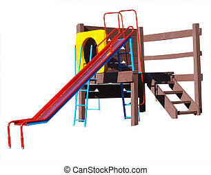 Childrens Playground Equipment isolated with clipping path...