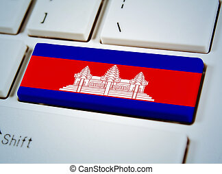 Association of Southeast Asian Nations Flag on keyboard button.Canbodia