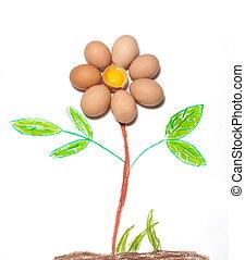 decorative chicken eggs - flower & eggs, decorative, raw...
