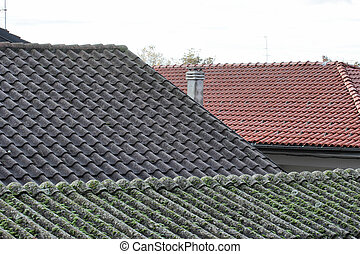 asbestos roof - urban view with old asbestos roof